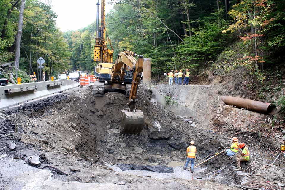 A grand mini-canyon has opened up on Glen Avenue/Route 28, just north of Cooperstown, as DOT crews and contractors strive to replace two culverts on one of the busiest stretches of road in the county.  Reporter Libby Cudmore toured and scene today, and will report on what's going on and why it's so extensive in this week's edition of The Freeman's Journal, on newsstands Wednesday afternoon.  (Jim Kevlin/AllOTSEGO.com)