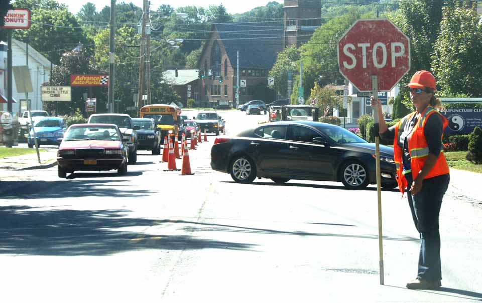 Traffic was tied up today on Main Street, Oneonta, between Fox Hospital and Lettis Highway as crews relaid utilities down the middle of the street. Repaving follows Friday. (Jim Kevlin/AllOTSEGO.com)