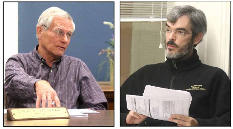 Village Trustee Lou Allstadt, left, and Village Treasurer Derek Bloomfield offered differing view on using taxpayers money for