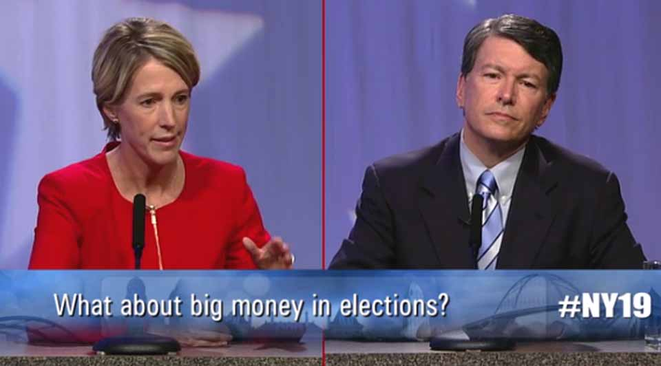 19th District Congressional candidates Zephyr Teachout and John Faso debate last evening at the Rensselaer Technology Park in Troy.
