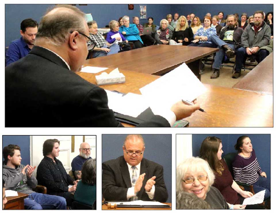 "Democrats at this hour are packing a county committee meeting (top photo) in Cooperstown's Village Hall, where, energized by President-elect Donald Trump's victory, nominees stepped forward to fill all committee vacancies, setting the stage for vigorous county board campaigns in next fall's elections. ""I know you're disappointed in Trump,"" said County Chair Richard Abbate. ""I know you are disappointed in Congress. But we can change that."" He went on to say that capturing the county board in 2017 would set the stage to mount a strong 19th District congressional campaign in 2018. Below left, CCS grad MacGuire Benton accepts applause after being affirms at chair of the Young Democrats organization. Center, Abbate applauds attendees on filling all vacancies. Lower right, Aimee Swann of Oneonta accepts a committee appointment. In the top photos, front-row attendees include, from left, Village Trustee Richard Sternberg, Melinda Hardin, who organized a 90-attendee political wake the weekend after the Nov. 8 elections, county Rep. Kay Stuligross, R-Oneonta, former village Trustee Lynn Mebust, and former county rep Ed Lentz, Garrattsville. (Jim Kevlin/AllOTSEGO.com)"