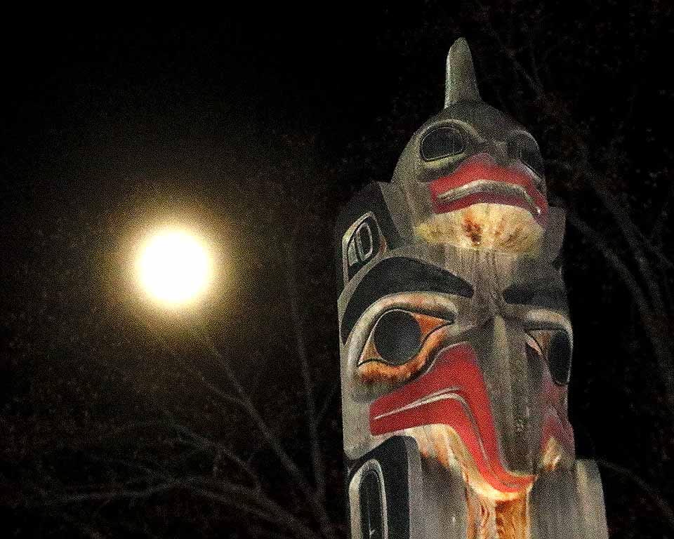 Supermoon 2016, the largest moon of 21st century so far, shines down on the totem pole in front of The Fenimore Art Museum and, for that matter, all of Otsego County and the world this night. The moon will be closes to the earth at 6:22 a.m. Eastern Standard Time tomorrow morning (Nov. 14). Both the earth and the earth are in elliptical orbits; thus the distance between the two orbs varies. The last time the moon and earth were this close together was in 1948; the next time, in 2034. (Jim Kevlin/AllOTSEGO.com)