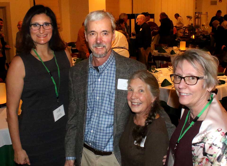 At this hour, Tom Salo, a mainstay of the Delaware-Otsego Audubon Society for decades, is being celebrated as OCCA Conservationist of the Year at the Otsego County Conservation Association's annual dinner in Templeton Hall, Cooperstown. Here, Salo is joined by, from left OCCA new executive director Leslie Orzetti, his wife Jo, and OCCA President Vicki Lentz. In recent years, Salo, of West Burlington, has been studying the