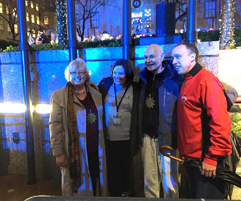 Craig and Angie Eichler and Mayor Gary Herzig and Oneonta First Lady Connie are awaiting the big moment in the VIP section at the foot of the 96-foot-tall blue spruce from Oneonta that will be lit alongside Rockefeller Center's ice rink at 8:55.