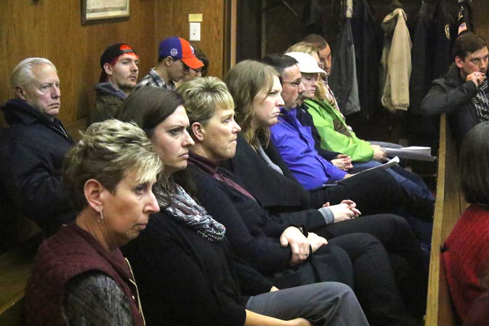 YMCA board members and administrators – from left, Cindy Struckle, Beth Goetz, Kristy Lawson, Sarah Manchester, Frank Russo, Carin Eaton, Anne Gregory and Don Tubia – were present this evening to hear Common Council decide to fund the Summer Parks Program in the 2017 budget.  In part, the money to fund the $22,000 program was made from closing the Wilber Park pool for the final two weeks of the summer season, at a savings of $6,000. Last year, City Treasurer Meg Hungerford reported, only 100 people used the pool in that time. (Ian Austin/AllOTSEGO.com)
