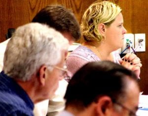 Council Member Dana Levinson, Fifth Ward, pleads with Council to keep funding the YMCA's summer Parks Program during tonight's budget workshop.  Behind her, from front, are Council member Joe Ficano, John Rafter and Russ Southard.   (Ian Austin/AllOTSEGO.com)