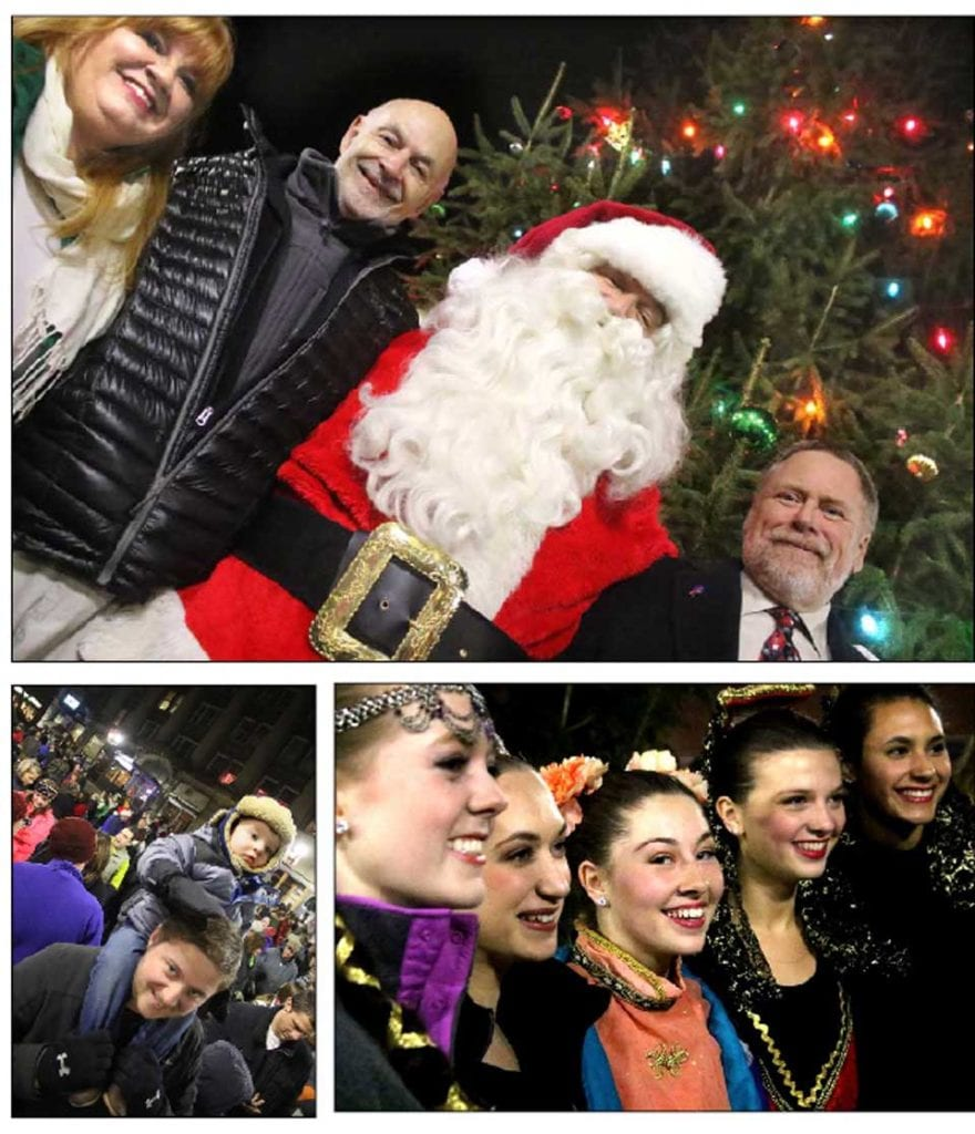 "Hundreds turned out again this evening for the community treelighting in downtown Oneonta, a highlight of the season in the City of the Hills.  In top photo, posing in front of the just-lit tree are, from left, Santa's elf Allison Green, Mayor Gary Herzig (just back from last night's tree lighting at Rockefeller Center), You Know Who and Oneonta Town Supervisor Bob Wood.  The four soloists in the upcoming Fokine Ballet ""Nutcracker"" – from left, Hannah Reynolds, Rose Wake, Gabriella Basdekis and Siarra Goodhue – flashing winning smiles at passing fans.  Lower left, Keegan Head, 16 months, of Oneonta, peers from his dad Kevin's shoulders at the tree-lighting fun. (Jim Kevlin/AllOTSEGO.com)"